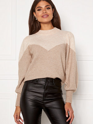 Selected Femme Star LS Block Knit Tuffet/White