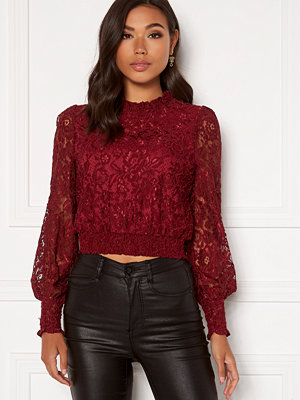 Bubbleroom Aida lace blouse Wine-red