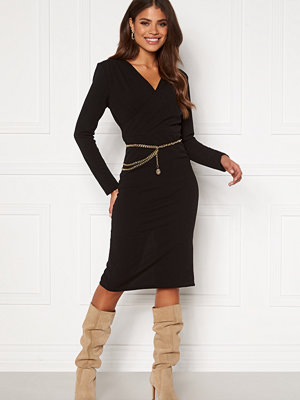 Girl In Mind Josephine Long Sleeve Belted Midi Dress Black