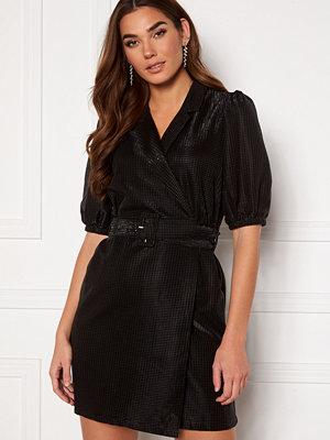 Pieces Ramille 2/4 Wrap Dress Black Black Lurex