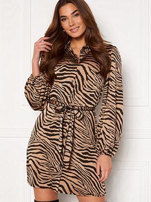 Vila Malas L/S Shirt Dress Dusty Camel W Zebra