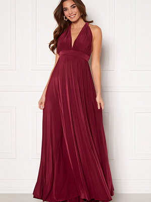 Goddiva Deep V Neck Maxi Dress Wine