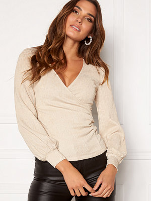 Happy Holly Simone party wrap top Champagne