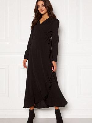 John Zack Long Sleeve Wrap Frill Maxi Dress Black