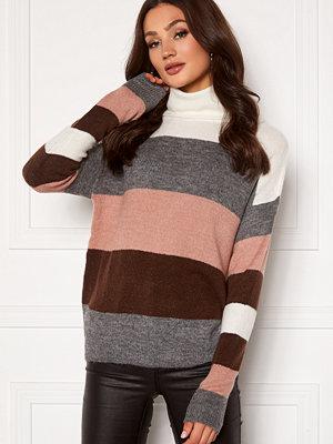 Jacqueline de Yong Elanora L/S Stripe Rollneck Knit Woodrose/ Stripes