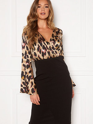 Girl In Mind Mya Wrap Front Midi Dress Leopard Print