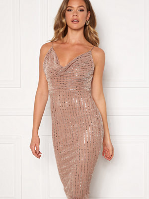 Girl In Mind Valentina Cowl Neck Sequin Midi Dress Mocha