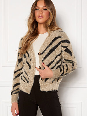 Girl In Mind Amber Fluffy Zebra Boxy Cardigan Stone