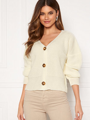 Girl In Mind Aria 3 Button Long Sleeve Knit Cardigan Creme