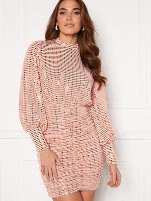 John Zack Sequin Long Sleeve Rouched Mini Dress Blush