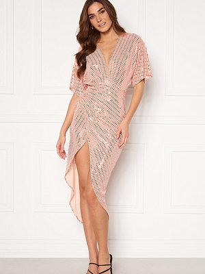 John Zack Sequin Kimono Sleeve Rouch Dress Blush