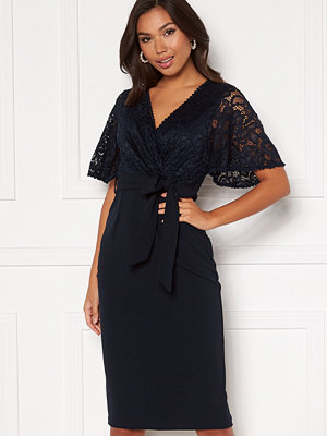 Girl In Mind Reagan Lace Wrap Belted Midi Dress Navy