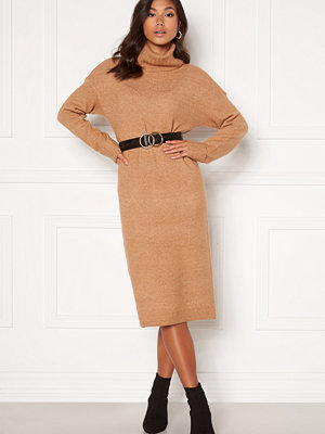 Vero Moda Gaiva LS Cowl Neck Dress Tan, W. Melange