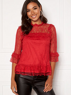 Happy Holly Isabella lace top Red