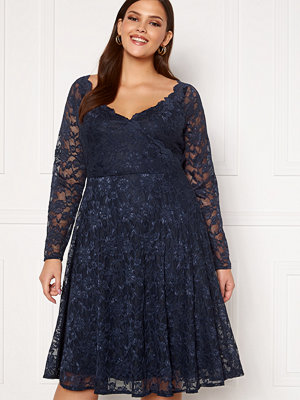 Goddiva Long Sleeve Lace Midi Curve Dress