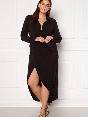 John Zack Long Sleeve Rouch Curve Dress Black