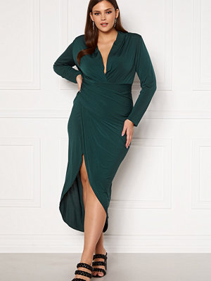 John Zack Long Sleeve Rouch Curve Dress Forest Night