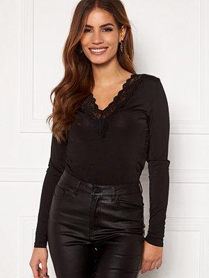 Object Leena L/S Lace Top Black