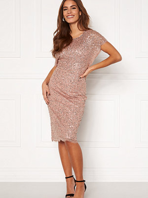 Angeleye Scallop Sequin Midi Dress Rose Gold