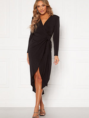 John Zack Long Sleeve Wrap Maxi Dress Black