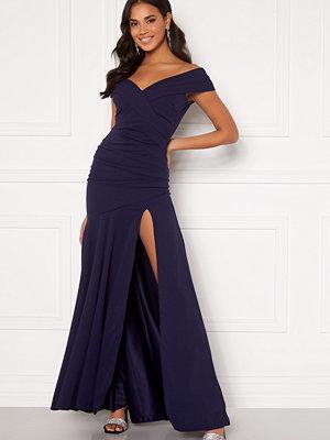 Goddiva Bardot Pleat Maxi Split Dress