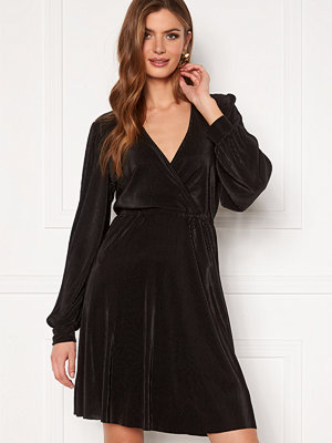 Vila Blamia Wrap Plisse Dress Black