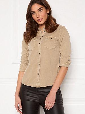 Vero Moda Maria LS Dnm Slim Shirt Silver Mink