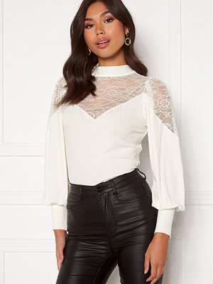 Happy Holly Nathalie lace puff top White