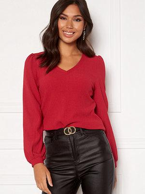 Happy Holly Emilia ls sleeve puff top  Dark red