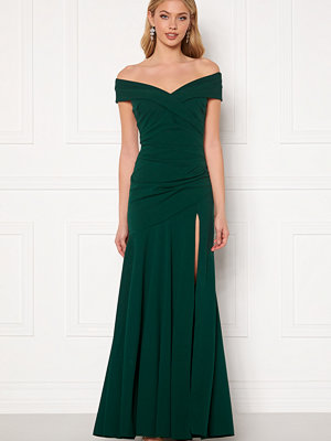 Goddiva Bardot Pleat Maxi Split Dress