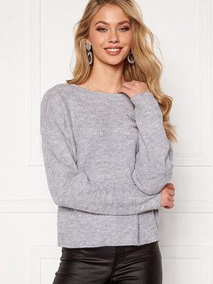 Vila Lala Lace Knit Top Light Grey Melange