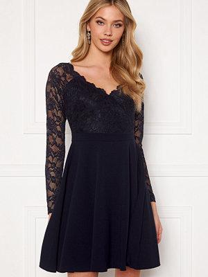 Goddiva Long Sleeve Lace Skater Dress