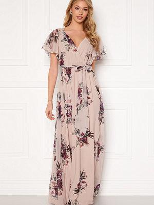 Goddiva Flutter Floral Maxi Dress Latte