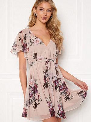 Goddiva Floral Flutter Dress Latte