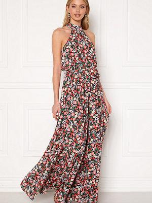 Goddiva Floral High Neck Maxi Dress Black