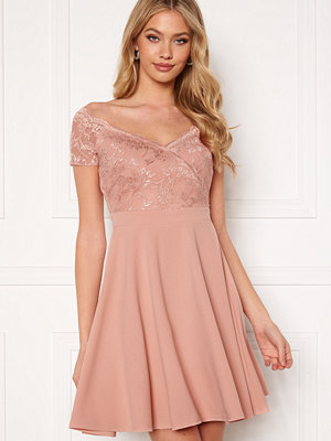 Goddiva Short Sleeve Lace Trim Skater Dress