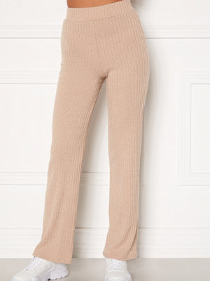Bubbleroom beige byxor Miley knitted trousers