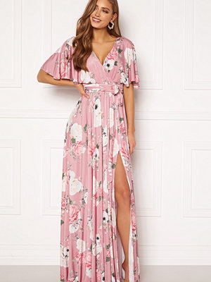 Goddiva Floral Flutter Sleeve Maxi Dress