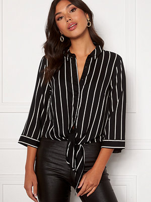 Happy Holly Juliette ss knot shirt Black / Offwhite