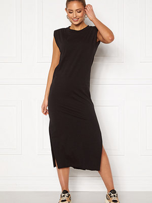 Bohemian Lounge Shoulder Pad Midaxi Dress Black
