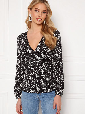 Happy Holly Amanda puff sleeve wrap top Black / Floral
