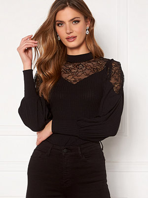 Happy Holly Nathalie lace puff top Black