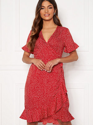 Vero Moda Henna 2/4 Wrap Frill Dress Goji Berry/White Dot