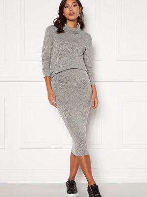 Bubbleroom Nalia fine knitted skirt Light grey melange