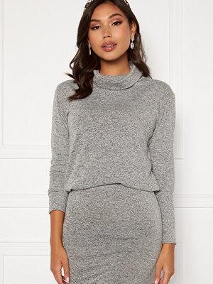 Bubbleroom Nalia fine knitted sweater Light grey melange