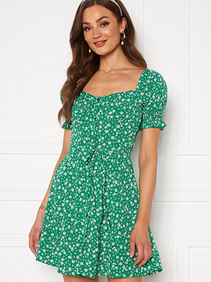 Bubbleroom Violie puff sleeve dress Green / White / Floral