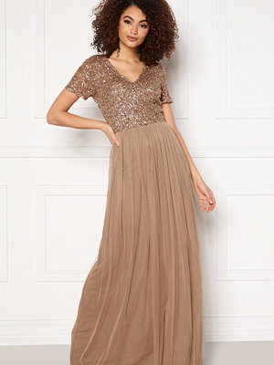 Angeleye Short Sleeve Sequin Dress Taupe