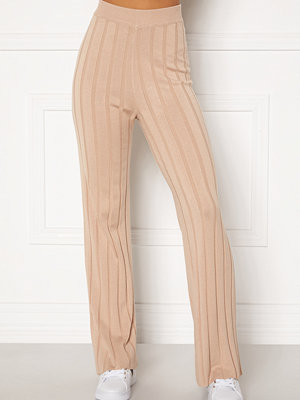 Happy Holly beige randiga byxor Anabelle Knitted pants