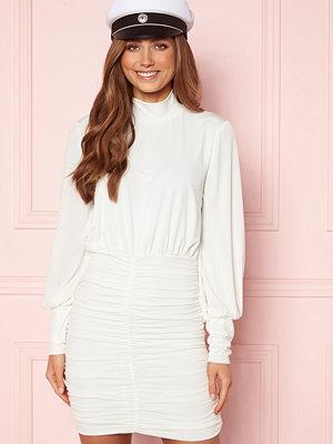 John Zack Long Sleeve Rouched Mini Dress White