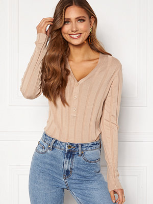Happy Holly Anabelle Knitted collar Top Beige